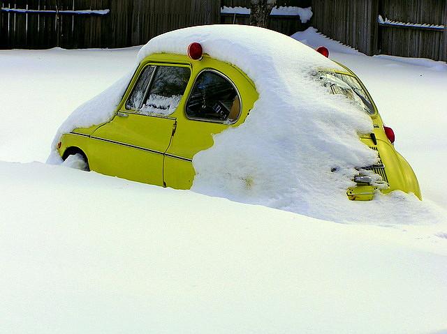 Subaru 360 in snow
