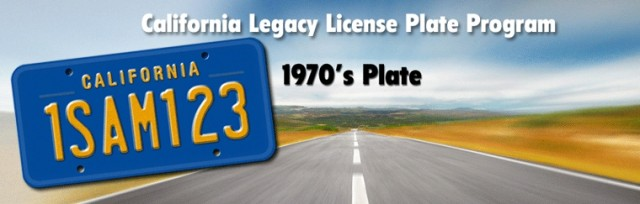 CA Legacy License Plate 1970s banner