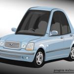 Superdeformed Toyota Progres blue