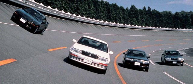 Lexus LS400 test track Supra Crown