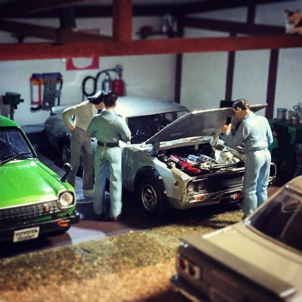 Takupon0816_Nissan Skyline C110 Kenmeri & Toyota Starlet KP61 diorama