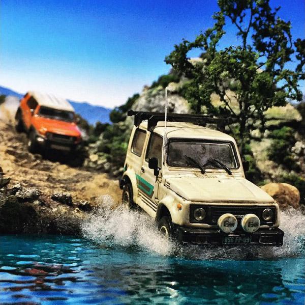 Takupon0816_Suzuki Jimny Samurai & Toyota FJ Cruiser diorama