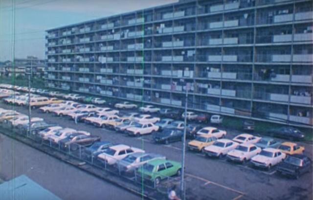 Mitsubishi employee apartment parking lot