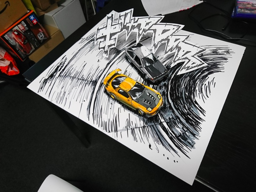art corner japanese artist recreates initial d touge scenes with